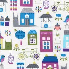 Suzys Dolls House – Town – blue fabric. via Fabric Rehab