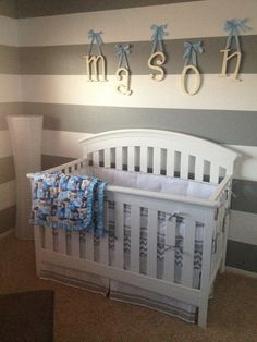 Baby room!! like the wide horizontal stripes...could use any color...and love the way they did the name on the wall