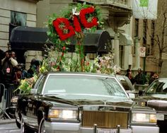 Biggie in Casket Funeral Pics   The lead flower car for the funeral procession of rapper Notorious B.I ...