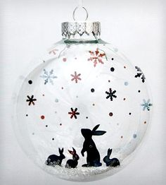 Glass Snow Bunnies Holiday Ornament by Glak Love on Scoutmob Shoppe