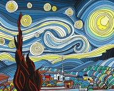 Cute Starry Night art illustration  8x10 by madewithlovebysara, $15.00