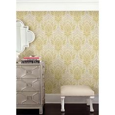 Kenneth James 56.4 sq. ft. Twill Yellow Damask Wallpaper-2671-22427 - The Home Depot
