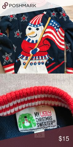 Ugly Sweater American flag and a snowman.... ugly sweater! This is in great shape for your Christmas party!! Be prepared!! Sweaters Crew & Scoop Necks
