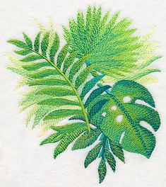Tropical Leaves in Watercolor 3 design (M4048) from www.Emblibrary.com