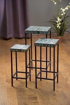 IMAX Aramis Mosaic Glass Tables - Set of 3 - Shades of blue and green blend effortlessly to top the set of three Aramis mosaic tables. This group can be used as nesting tables or placed separately as needed.