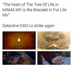 Well it makes sense. I mean the m/v for 'for life' represents the relationship between EXO-L and EXO, similar to how the m/v repeats, we repeatedly love EXO. By having the heart of the tree of life as the bracelet they're saying that we as EXO-L's hold their heart