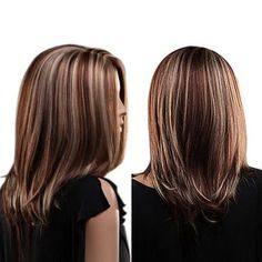 Center Parting Highlighted Straight Medium Bob Synthetic Wig - Modern Wigs With Bangs, Hairstyles With Bangs, Straight Hairstyles, Cool Hairstyles, Synthetic Lace Front Wigs, Synthetic Wigs, Brades Hair, Beliage Hair, Balayage Straight Hair