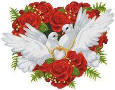 Вышивка «Свадебные голуби»