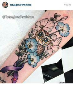 owl tattoo on arm Wrist Tattoos, Trendy Tattoos, Love Tattoos, Beautiful Tattoos, Body Art Tattoos, Tattos, Owl Tattoo Drawings, Tatoo Art, Ray Tattoo