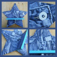Opzetplankje met een ster voor stoere jongens en meiden. De ster en het plankje zijn bekleed met behang in jeans print.  Het randje is lichtblauw met witte nopjes.  Leuk voor aan de muur op de baby- of kinderkamer Afmetingen ster: 39,5 cm Afmetingen plankje: 20,5 x 10 cm