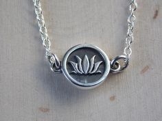 Lotus Necklace / Lotus Flower Necklace / Sterling Silver Lotus Flower Necklace / Horizontal / Lotus Flower / Lotus Charm / Lotus Jewelry by MalieCreations on Etsy