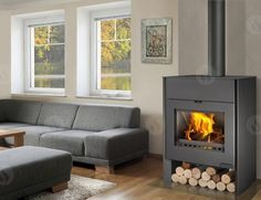 RIANO 01 W plech - krbová kamna s teplovodním výměníkem Metal Fireplace, Stove Fireplace, Fireplace Inserts, Fireplace Design, Water Systems, Modern Colors, Sheet Metal, Home Appliances, Wood