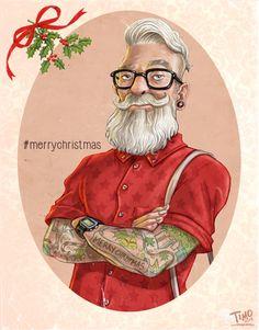 I wish everyone a Merry Christmas! Rockabilly, Santa Claus Drawing, Hipster Illustration, Naughty Santa, Merry Christmas, Affinity Designer, Christmas Pictures, Illustrations, Ugly Christmas Sweater