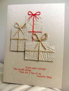 "By Tilly McLeod (Tilly at Splitcoaststampers). Embossed rectangles tied with twine. Pop up the two foreground ""packages."""