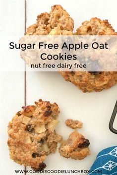 These Sugar Free Apple Oat Cookies are sweetened only with fruit. Deliciously wholesome and totally kid approved. The Apple Oat Cookies are nut and dairy free so fantastic for school lunches. They are also fantastic for baby led weaning (from 9 months) as Sugar Free Snacks, Sugar Free Baking, Sugar Free Cookies, Sugar Free Desserts, Sugar Free Recipes, Baby Food Recipes, Cooking Recipes, Healthy Recipes, Apple Cookies