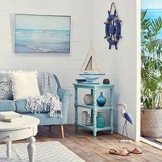 Blue Beach Cottage Decor at Zulily Featured on Beach Bliss Designs: https://www.beachblissdesigns.com/2018/05/blue-beachy-living-room-zulily-catalog.html