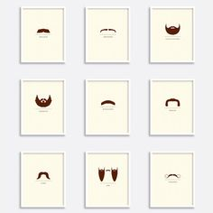 Famous mustaches as minimalist prints