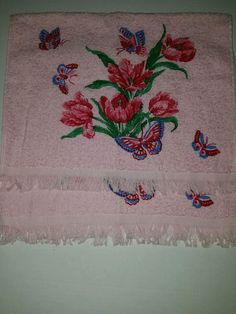 2 NOS Cannon Hand Towels Pink With Flowers And Butterflies 25 ins X 16 ins
