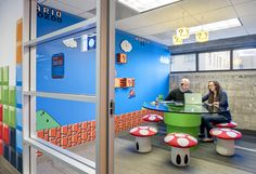 """Adding an additional jolt of energy to the space are five """"super themed"""" conference rooms that bring the classic games of Donkey Kong, Super Mario, Oregon Trail, Tetris, and Legend of Zelda to life. 