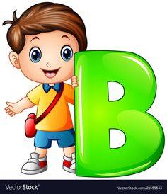 Little boy holding letter b Royalty Free Vector Image Letter E Activities, School Cartoon, Cartoon Boy, Flashcards For Kids, Alphabet Pictures, Kids Vector, Alphabet For Kids, Art Drawings For Kids, School Decorations