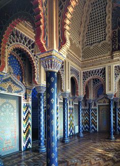 Villa Di Sammezzano is an astonishing reinterpretation of Moorish architecture and interiors. Marquis Ferdinando Panciatichi acquired the castle in 1816, on the death of his maternal aunt, Fernando Ximenes d'Aragona whose titles and estate he had inherited. Work began in 1853 and continued for more than forty years to transform the simple original building into the fabulous Moorish palace of his dreams. The work is amazing.