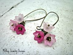 Pink flower earrings. Spring jewelry. Light pink, Rose, pink. McKee Jewelry Designs