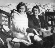 Eva Braun with Hanni Morell, looks like the Zugspitze. 1939-ish. (via putschgirl)