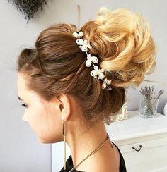 curly bun wedding updo