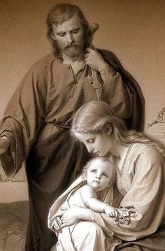 A very unique and tranquil Holy Family Image. Catholic Pictures, Jesus Pictures, Blessed Mother Mary, Blessed Virgin Mary, Religious Images, Religious Art, Jesus Mary And Joseph, Saint Joseph, Jesus Christus