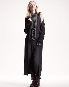 Long Paillette Cardigan, Silk Jumpsuit & Bead-Feather Necklace by Brunello Cucinelli at Neiman Marcus.