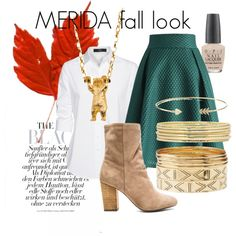 A fashion look from October 2015 featuring ruffle sleeve shirt, elastic waistband skirt and high heel bootie. Browse and shop related looks. Merida, Liz Claiborne, Opi, Charlotte Russe, Shoe Bag, My Style, Polyvore, Stuff To Buy, Fashion Design