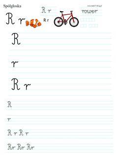 LITERKA R | BLOG EDUKACYJNY DLA DZIECI Polish Language, Worksheets For Kids, Montessori, Alphabet, Classroom, Exercise, Math Equations, Teaching, Education