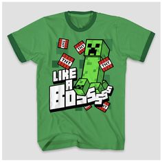 3f87c6a9 This Boys' Minecraft T-Shirt in Kelly Green is the perfect top for your  little gamer. Featuring short sleeves, a cool Minecraft graphic, ...