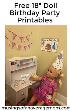 "Free 18"" birthday party printables including invitations, birthday cards, birthday posters and banner and party hats for American Doll or My Life dolls."