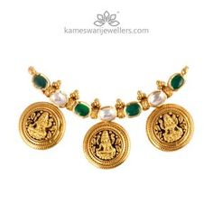 Shop bridal jewellery and South Indian mangalsutra online from Kameswari Jewellers! Coin Jewelry, Bridal Jewelry, Beaded Jewelry, Thread Jewellery, Pearl Jewelry, Pendant Jewelry, Gold Jewelry Simple, Gold Jewellery Design, Indian Jewelry