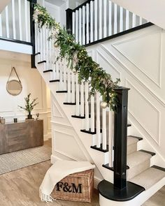 Hamper, Garland, New Homes, Stairs, Country, Wainscoting Ideas, Christmas, House, Instagram