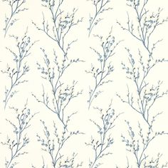 Pussy Willow Off White/Seaspray Blue Floral Wallpaper at Laura Ashley