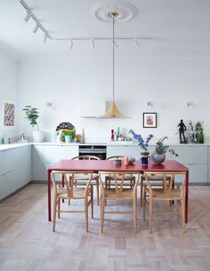 Kitchen Interior red dining table and yellow pendant lamp with pale blue kitchen cabinets. / sfgirlbybay - the latest issue of rue magazine is lovely, and one of my favorite features is interior stylist and designer rikki bye-andersen's apartment in oslo. Home Kitchens, Contemporary Kitchen, Kitchen Remodel, Kitchen Decor, Home Remodeling, Kitchen Interior, Interior Design Kitchen, Home Decor, House Interior