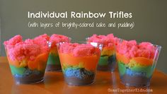 rainbow cake/pudding cups
