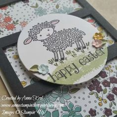 Easter can't get any cuter - Easter Lamb at Wildflower Fields card I created for Simply Sketched Saturday Challenge.