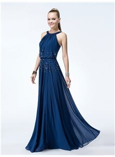 Stunning A-Line Halter  Beading Dropped Floor-Length Evening Dress