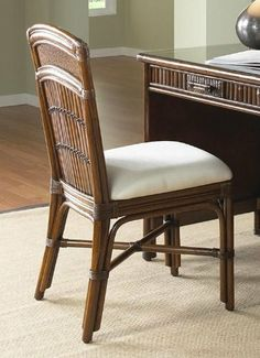 Polynesian Rattan U0026 Bamboo Desk Chair With Cushion By Hospitality Rattan.  $193.80. Number Of