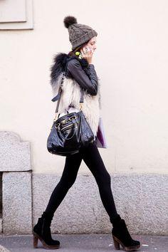 terrific mix-match with woolly hat, plush waistcoat and black leggings Milan Fashion Week Street Style, Autumn Street Style, Street Chic, Passion For Fashion, Love Fashion, Womens Fashion, Fashion Trends, Style Fashion, High Fashion