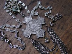 Religious necklace silver religious ornate jewelry one of a kind assemblage catholic fleur de lis adjustable by madonnaenchanted on Etsy