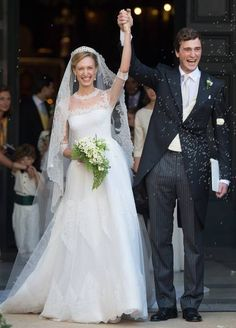 In 2014 Elisabetta Maria Rosboch von Wolkenstein married Prince Amedeo wearing a gown by Valentino. The breathtaking ivory Valentino gown had dainty details like Swiss dot embroidered on her veil and lace hems on the shoulders and bust. It was a perfect dress for the Princess, affectionately known as Lilli to her husband. With her slight frame the skirt has just the right amount of fullness to flatter but not overwhelm.