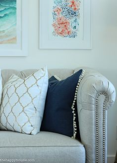 Coastal Style Blue and White Living Room Lakehouse Living Room Makeover Reveal for the One Room Challenge -12