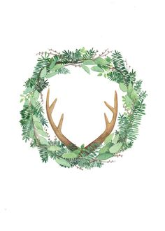 antler wreath watercolor print floral wreath print by sarabroski Wreath Watercolor, Watercolor Print, Watercolor Flowers, Antler Wreath, Wreath Drawing, Karten Diy, Noel Christmas, Xmas, Antlers