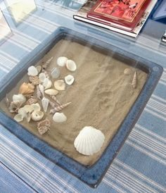 Pot converted into a display table! Learn more here: http://www.completely-coastal.com/2014/02/seashell-display-table-ideas.html