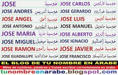 nombre en arabe para tatuaje: Jose, Jose Maria, Jose Carlos