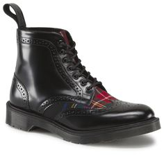 Dr. Martens Anthony Boot – 7-eye brogue boot in black leather and Stewart tartan. Made In England    Individual Style. United Spirit